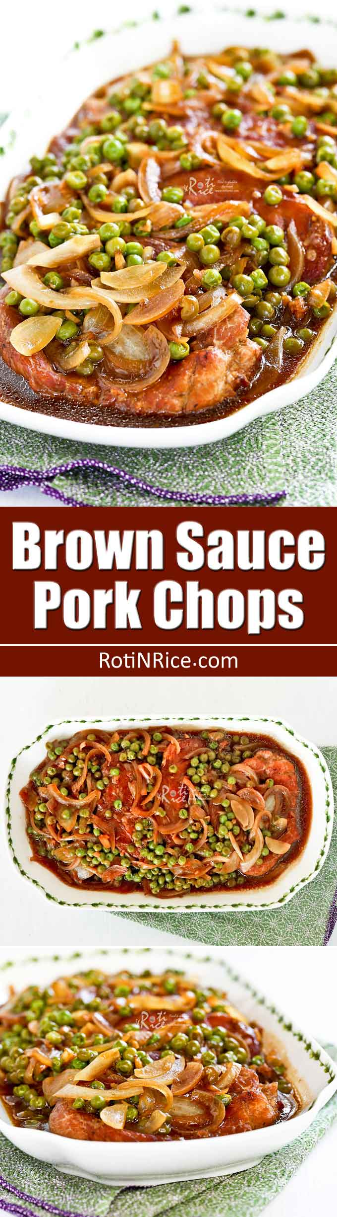 Delicious home style Brown Sauce Pork Chops with green peas. Only 30 minutes to prepare. Great for busy week nights or lazy weekends. | RotiNRice.com