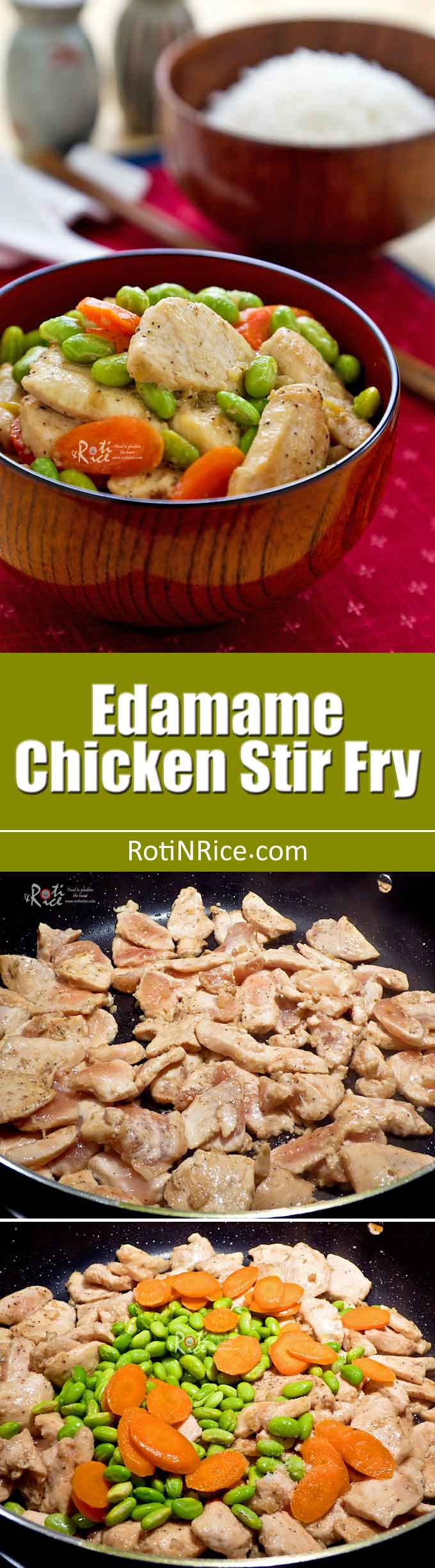 Quick and easy Edamame Chicken Stir Fry in under 30 minutes. Perfect for weeknights and delicious served with steamed rice. | RotiNRice.com