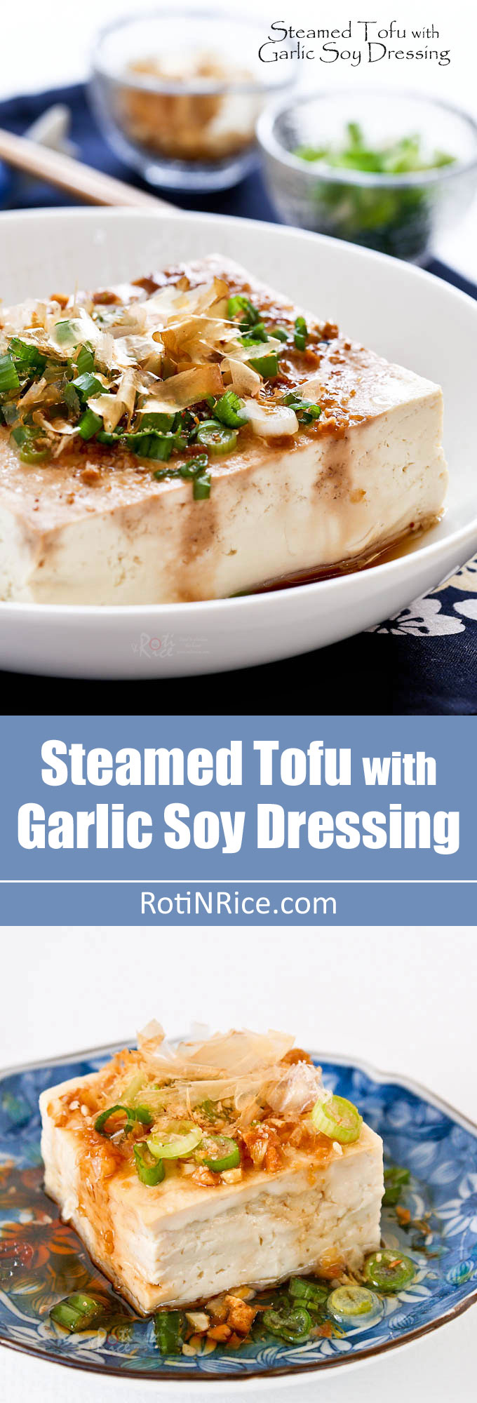 Steamed Tofu with Garlic Soy Dressing - a healthy and delicious side dish to go with rice. Only 12 minutes to prepare using the microwave. | RotiNRice.com