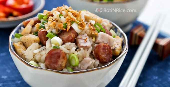 Yam / Taro Rice is a savory one-pot meal made with long grain rice, taro (a.k.a. yam), chicken, and Chinese sausage. This tasty dish has a fluffy texture and is deliciously satisfying. | RotiNRice.com
