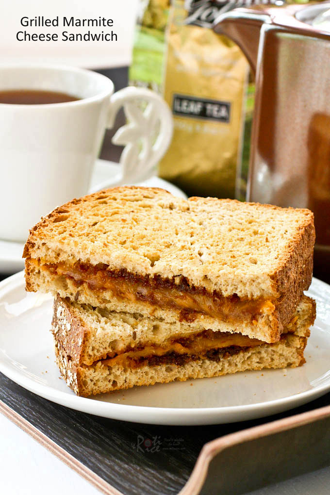 Delicious savory Grilled Marmite Cheese Sandwich