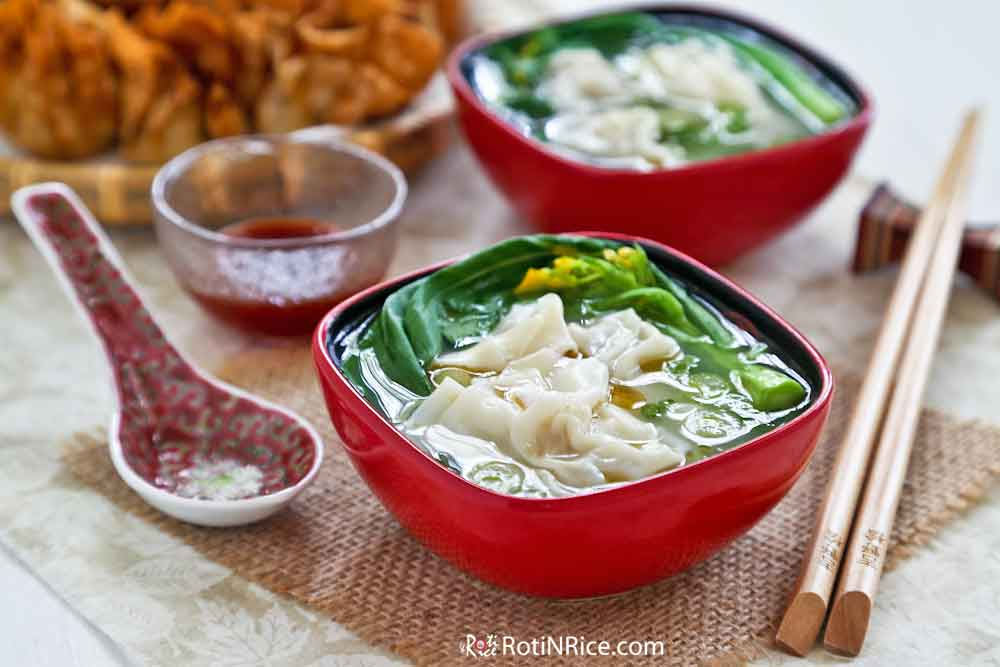 Wontons in chicken broth served as a starter or appetizer.