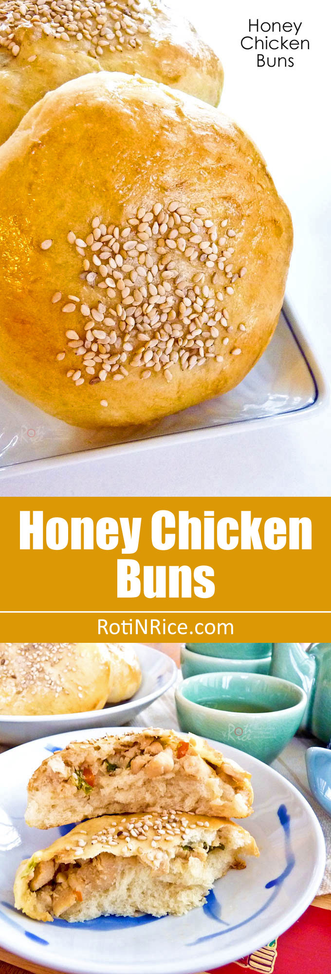 Delectable sesame seeded Honey Chicken Buns filled with honey and ginger flavored chicken. They are perfect for a snack or light lunch. | RotiNRice.com