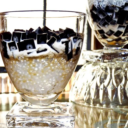 Ebony n Ivory Dessert - a cool dessert combining tapioca pearls and grass jelly sweetened with maple syrup. Half-and-half is added for creaminess.   RotiNRice.com