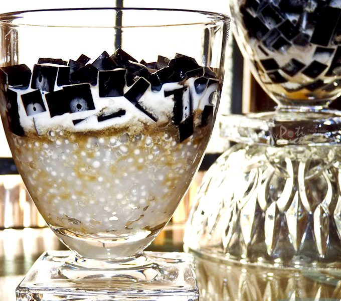 Ebony n Ivory Dessert - a cool dessert combining tapioca pearls and grass jelly sweetened with maple syrup. Half-and-half is added for creaminess. | RotiNRice.com