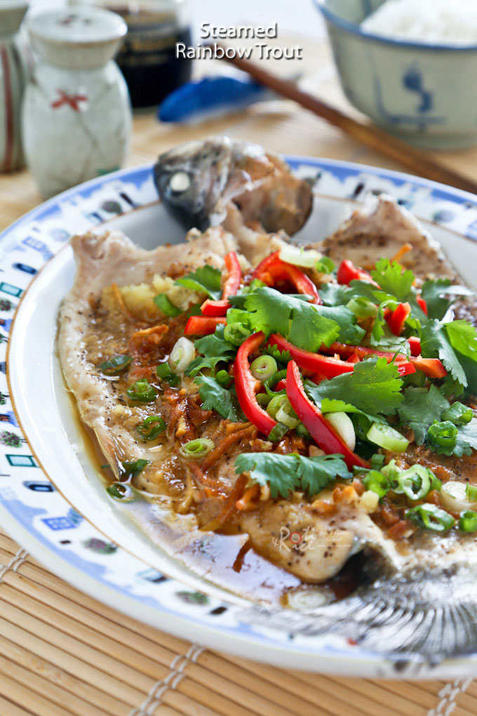Delicious Cantonese style Steamed Rainbow Trout.