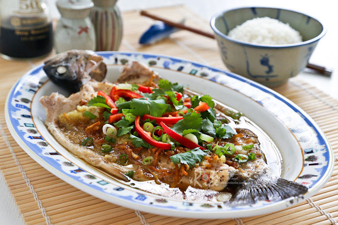 This sweet and tender Steamed Rainbow Trout is quick, healthy, and delicious. It is dressed Chinese style with a simple ginger, garlic, and soy dressing. | RotiNRice.com