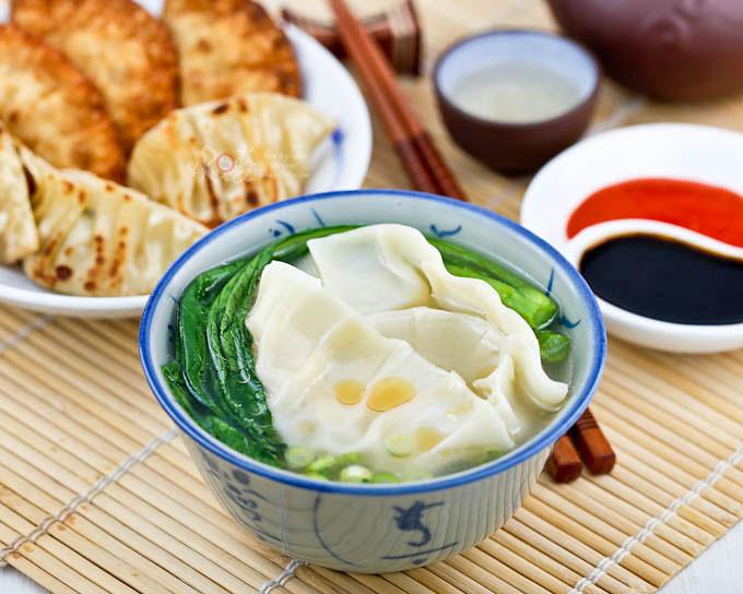 Sui Kow (Chinese Dumplings) in broth.