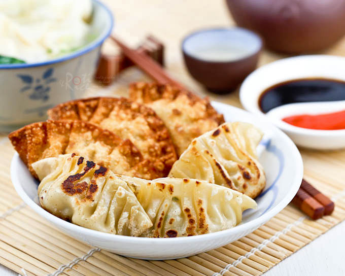 Deep fried and pan fried Sui Kow (Chinese Dumplings).