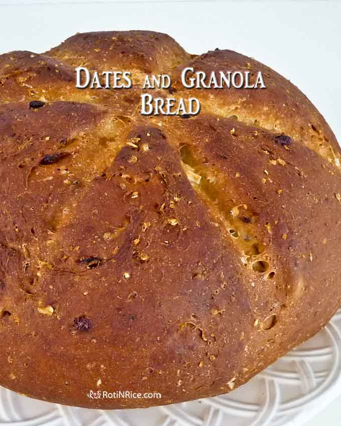 A beautiful hand shaped loaf of Dates and Granola Bread.