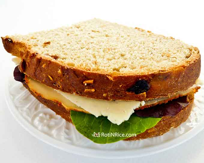A delicious sandwich made using thin slices of this bread.