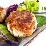 These delicious Crab Cakes are the perfect appetizer. Serving them on a bed of leafy greens makes a lovely presentation. | Food to gladden the heart at RotiNRice.com