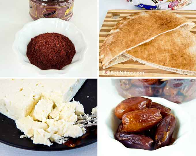 Sumac, pita, Greek feta, and  Deglet Noor dates.