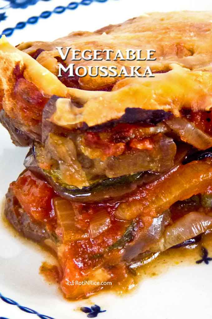 Layered Vegetable Moussaka with eggplants and zucchini.