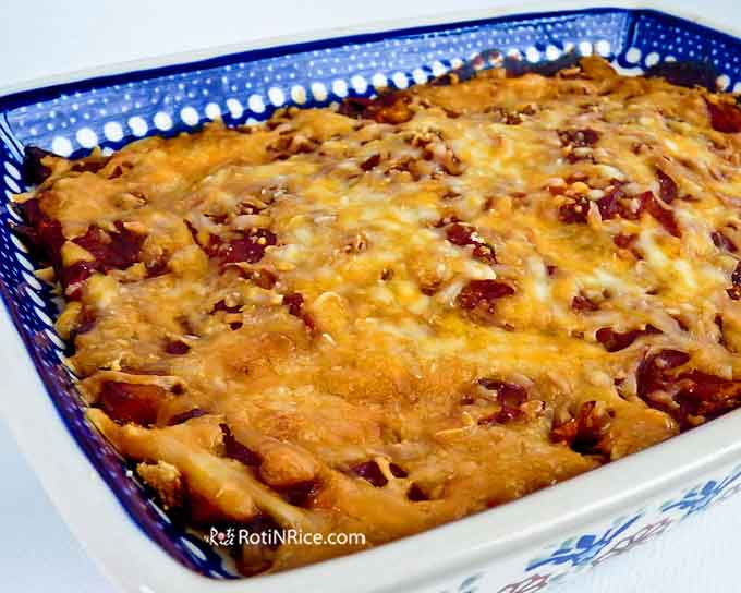 Baked Vegetable Moussaka topped with cheese.