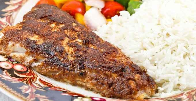 Enjoy this complete meal of Blackened Walleye served with a luscious Mango Salsa and fluffy Spiced Basmati Rice. Only 30 minutes to prepare.   RotiNRice.com