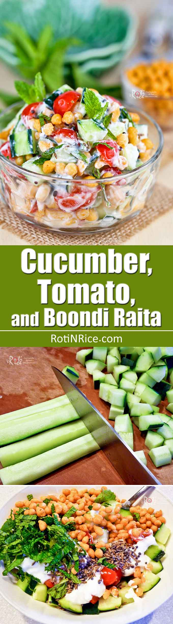 This cool tasty Cucumber, Tomato, and Boondi Raita is delicious with curries or grilled meats. The boondi (gram flour puffs) provide a nice crunch. | RotiNRice.com
