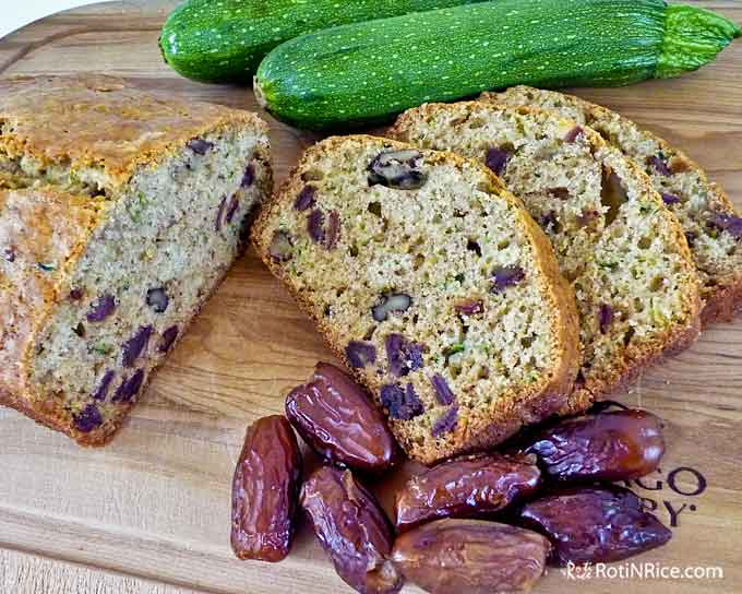 Sweet, moist and delicious Dates and Zucchini Bread.