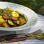 Pan Fried Summer Squash and Sausages with Rosemary