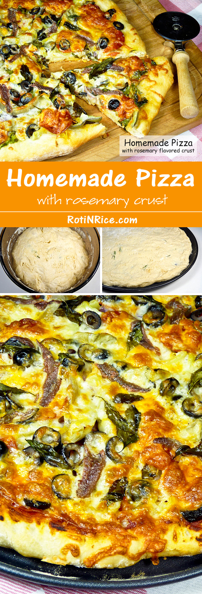 Homemade Pizza with a superb rosemary flavored crispy chewy crust. Resting the dough in the refrigerator allows for its flavor to fully develop. | RotiNRice.com