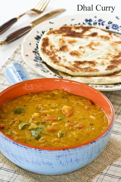 Dhal Curry served with roti canai.