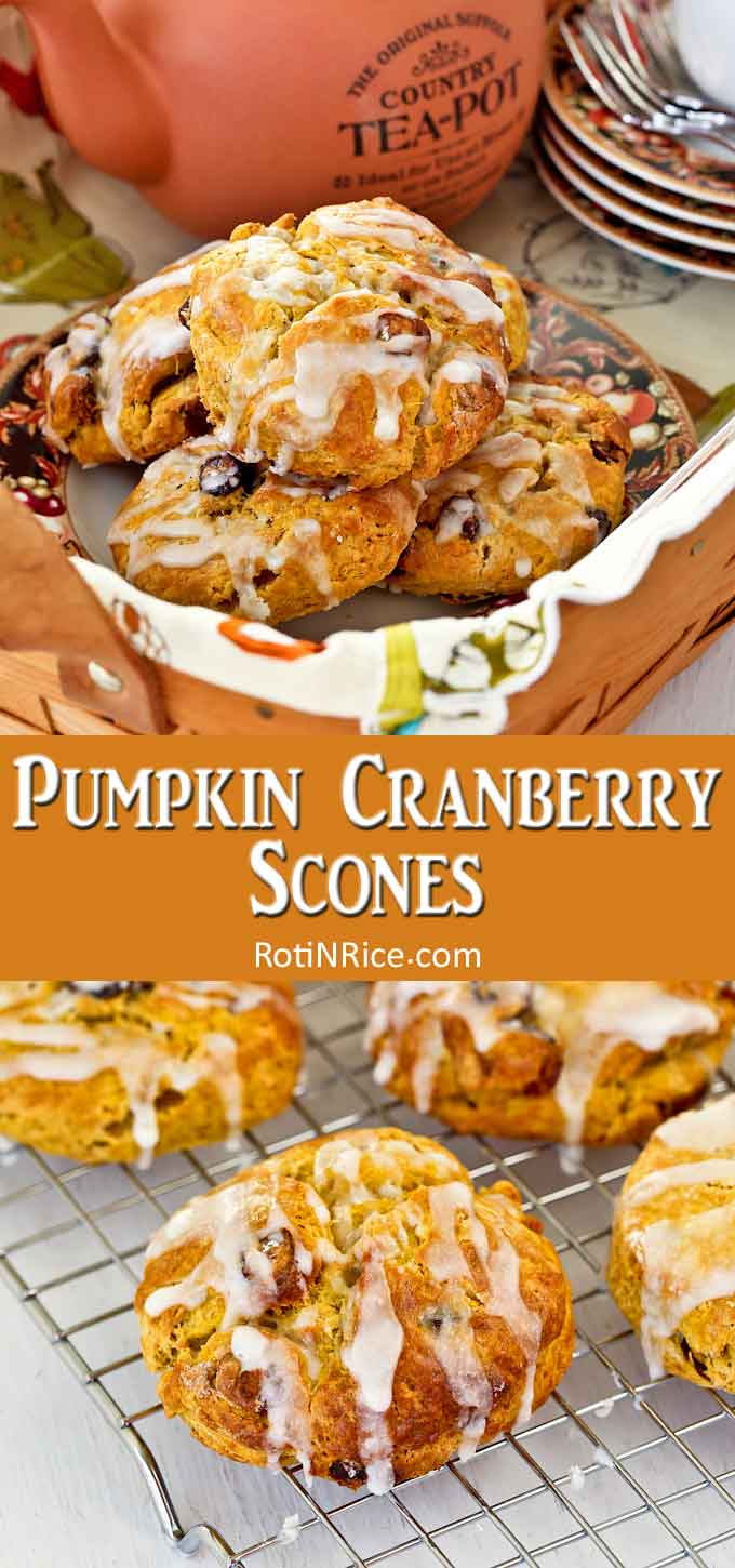 Warm and delicious Pumpkin Cranberry Scones.