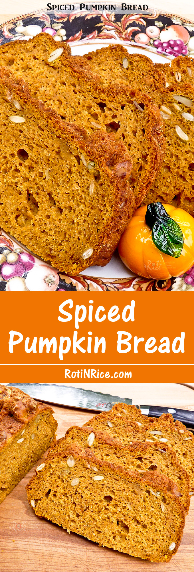 Moist and fragrant Spiced Pumpkin Bread flavored with warm spices. The addition of toasted pumpkin seeds provides crunch and texture. | RotiNRice.com