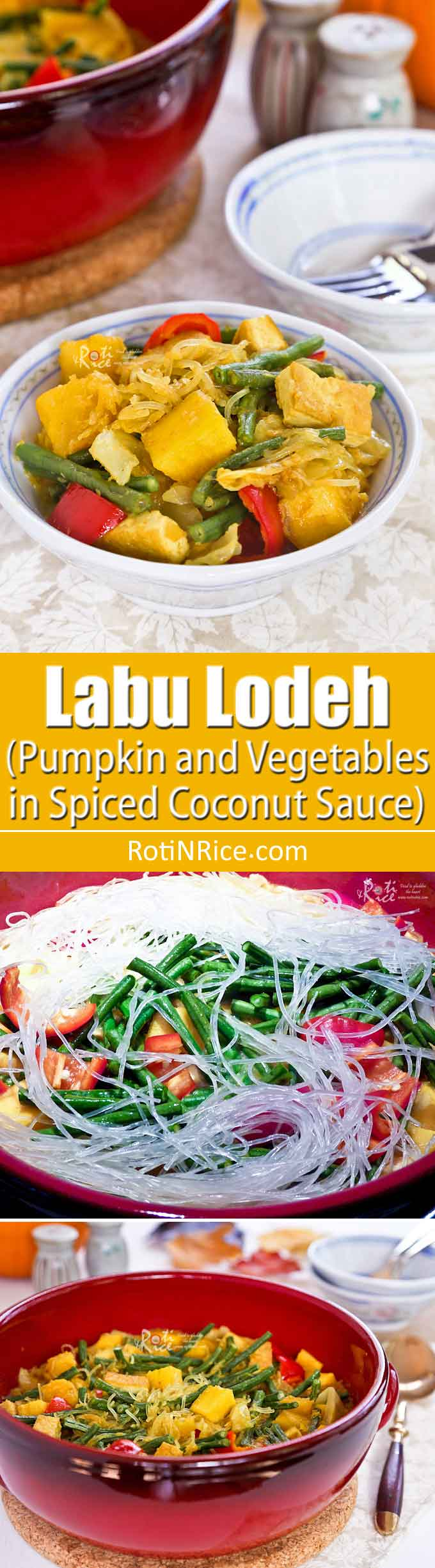 This Labu Lodeh is based on the popular Indonesian sayur lodeh with the addition of cubed pumpkin to the mix of vegetables simmered in coconut milk. | RotiNRice.com