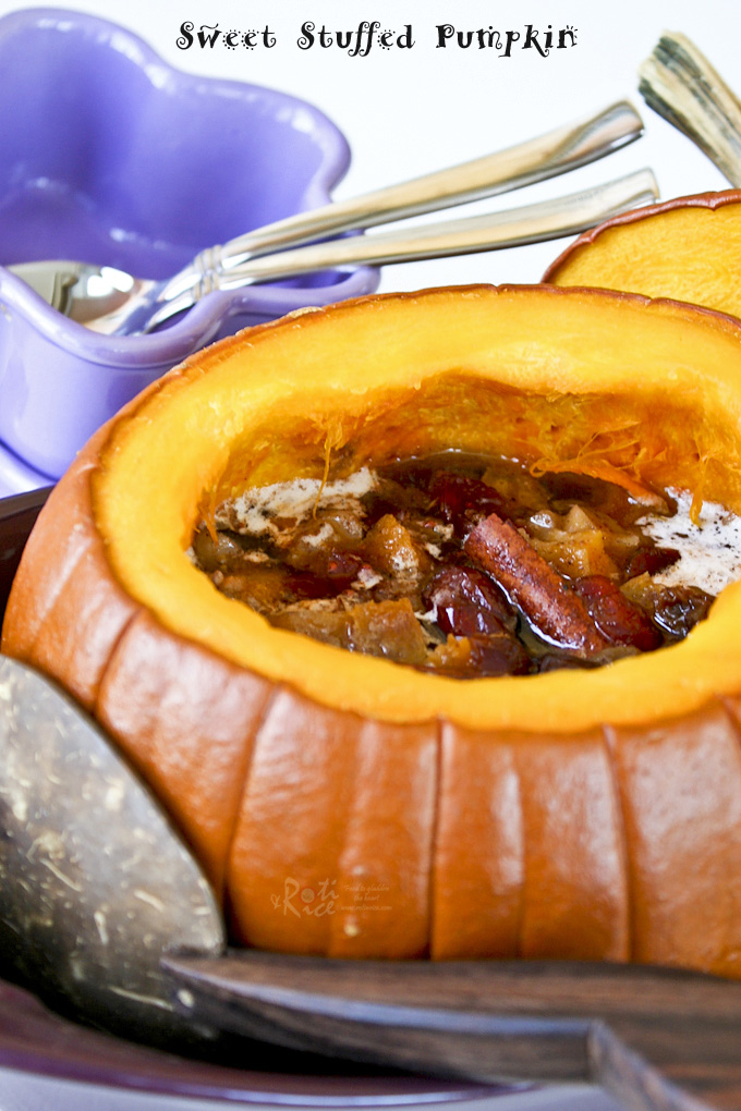 Warm, delicious Sweet Stuffed Pumpkin dessert