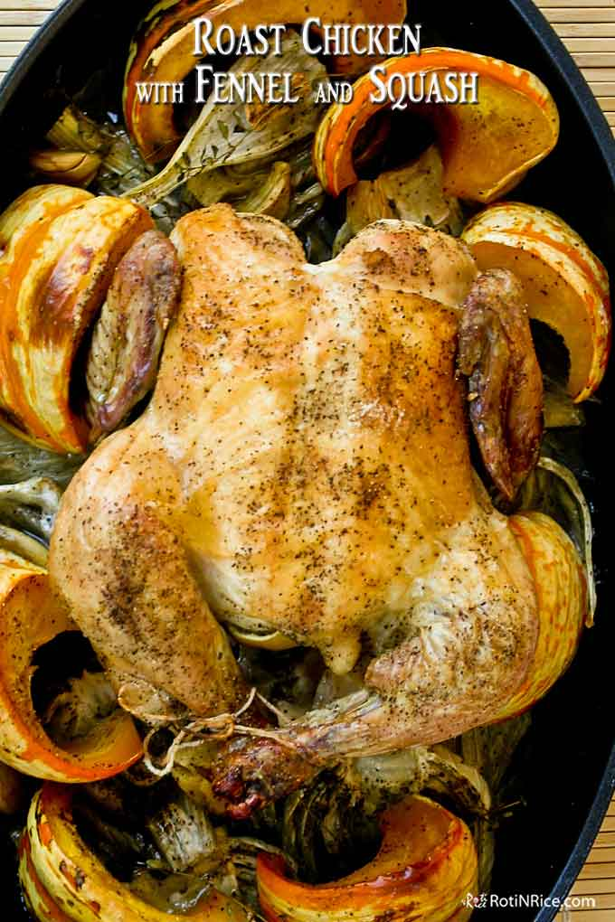 Roast chicken fresh out of the oven.