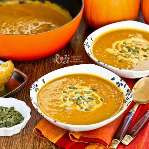 Quick and easy Spicy Pumpkin Soup in 20 minutes. Fresh ginger, curry powder, and ground cinnamon make this soup deliciously warm and comforting. | RotiNRice.com