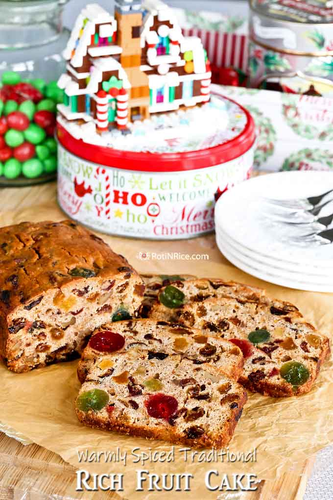 Traditional Rich Fruit Cake perfect for Christmas and the holidays.