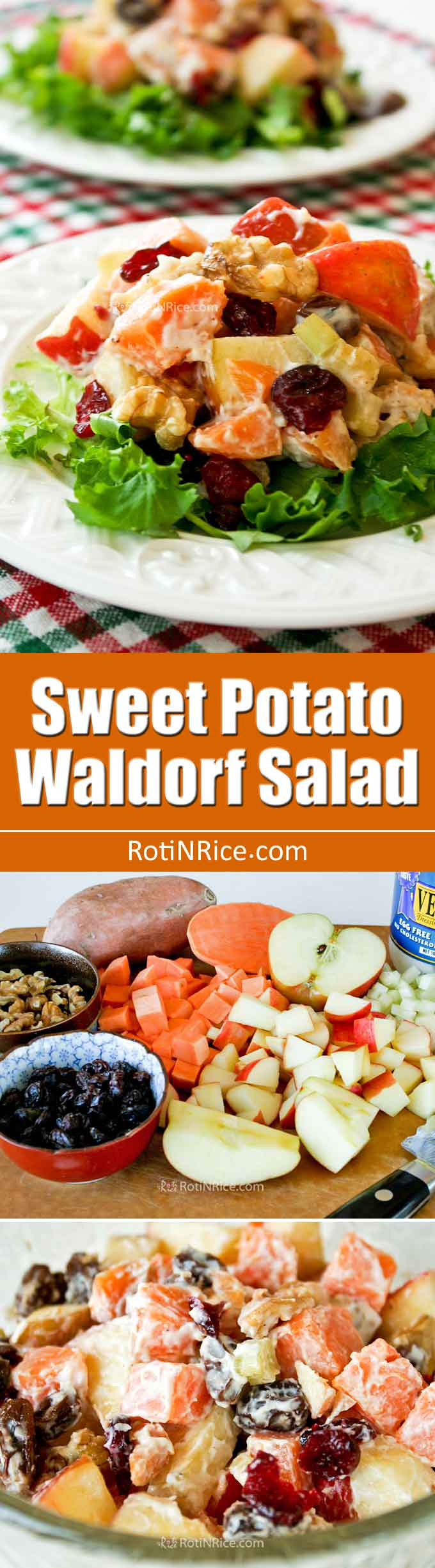 This Sweet Potato Waldorf Salad is a twist on the classic with the addition of sweet potatoes and cranberries providing a contrast of colors and textures. | RotiNRice.com