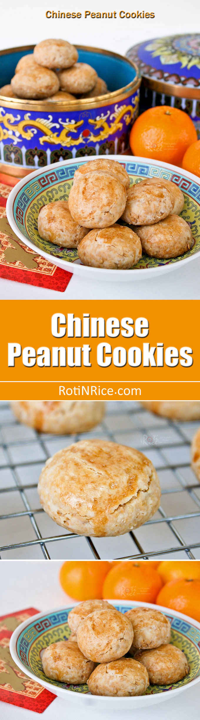 Melt-in-the-mouth  gluten free Chinese Peanut Cookies using freshly roasted peanuts and rice flour. They are very easy to make and a treat for sure! | RotiNRice.com