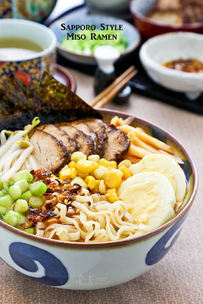 Hearty and flavorful Sapporo Style Miso Ramen topped with slices of teriyaki pork tenderloin, hard boiled eggs, bean sprouts, corn, and bamboo shoots. | RotiNRice.com