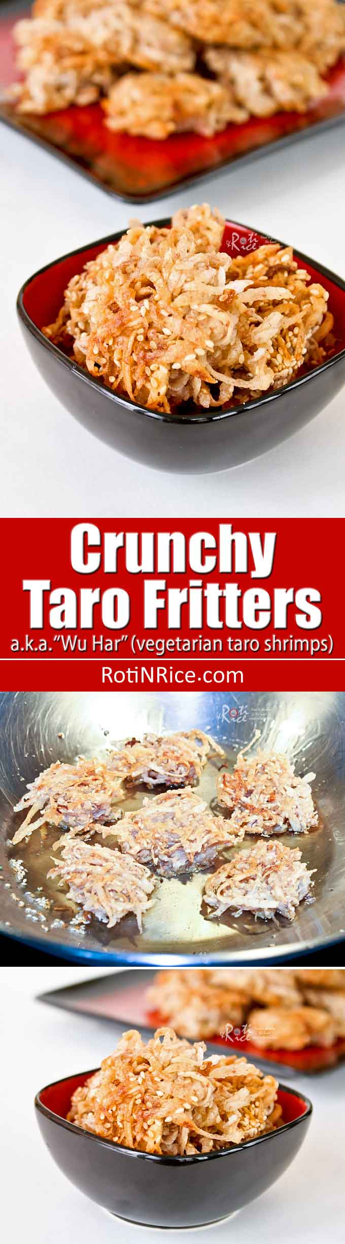 These savory Crunchy Taro Fritters flavored with five spiced powder and sesame seeds make a really tasty snack. Be sure to make a bunch for they go quickly. | RotiNRice.com