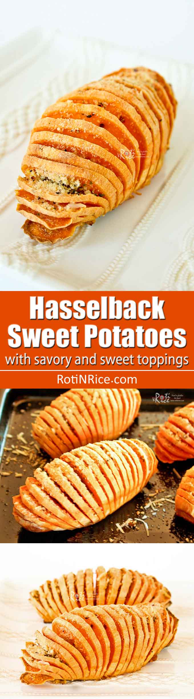 These Hasselback Sweet Potatoes are a simple yet elegant and tasty side dish for your holiday table. Recipe includes a savory and sweet toppings. | RotiNRice.com