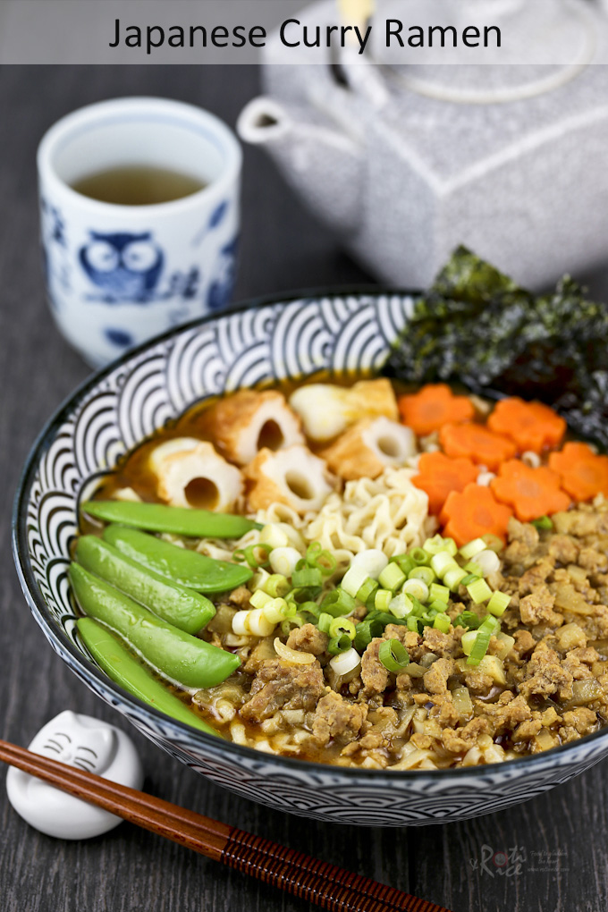 Curry Ramen withcarrots, sugar snap peas, chikuwa and toasted seaweed.
