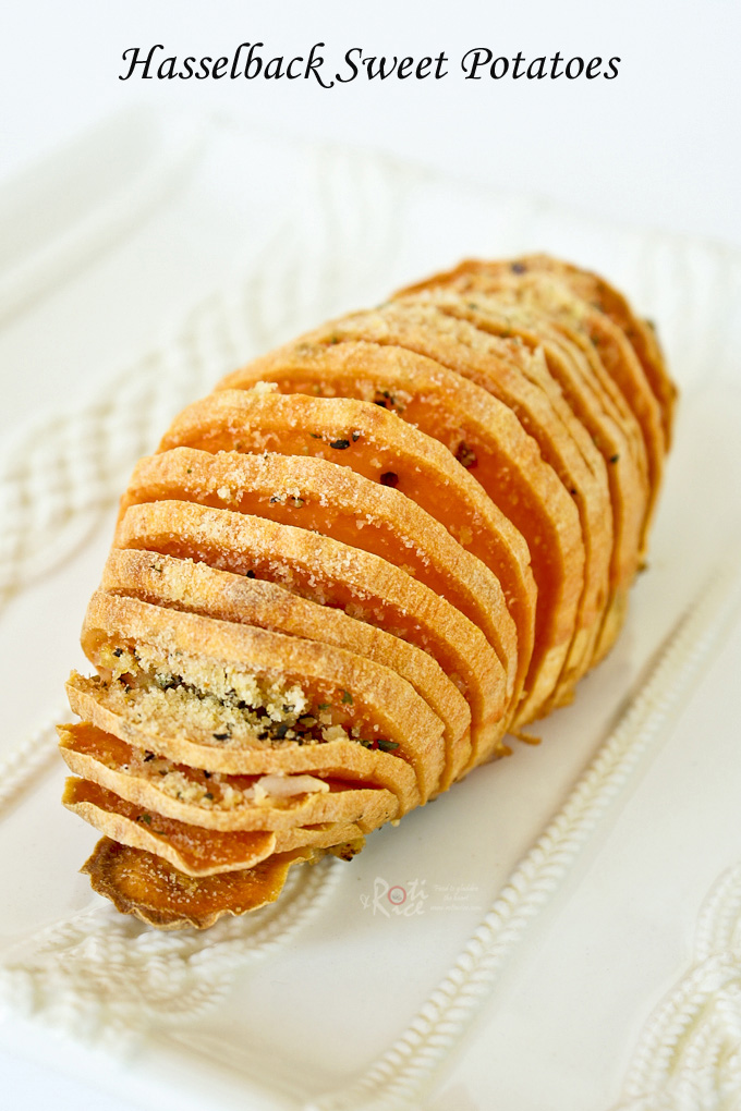 These Hasselback Sweet Potatoes are a simple yet elegant and tasty side dish for your holiday table. Recipe includes a savory and sweet topping. | Food to gladden the heart at RotiNRice.com