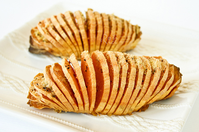 These Hasselback Sweet Potatoes are a simple yet elegant and tasty side dish for your holiday table. Recipe includes a savory and sweet toppings. | sRotiNRice.com