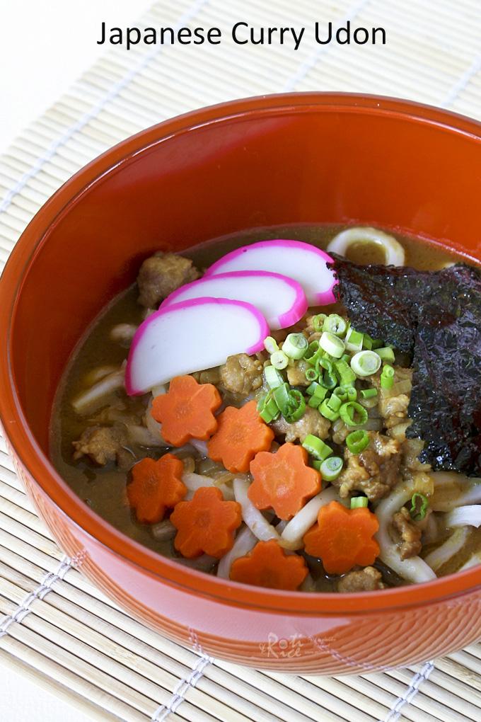 Japanese Curry Udon withground pork, kamaboko and toasted seaweed.