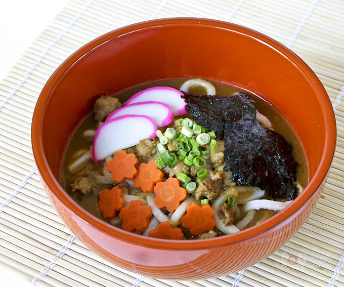 Curry Udon with ground pork and kamaboko.