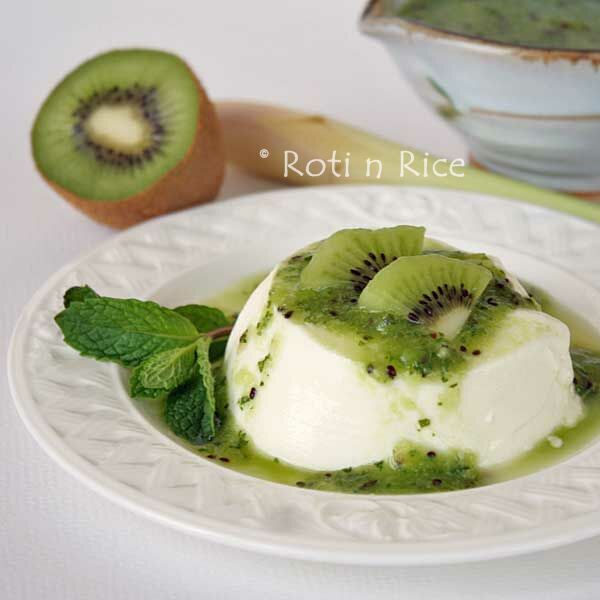 Lemongrass Panna Cotta with Kiwi Mint Sauce