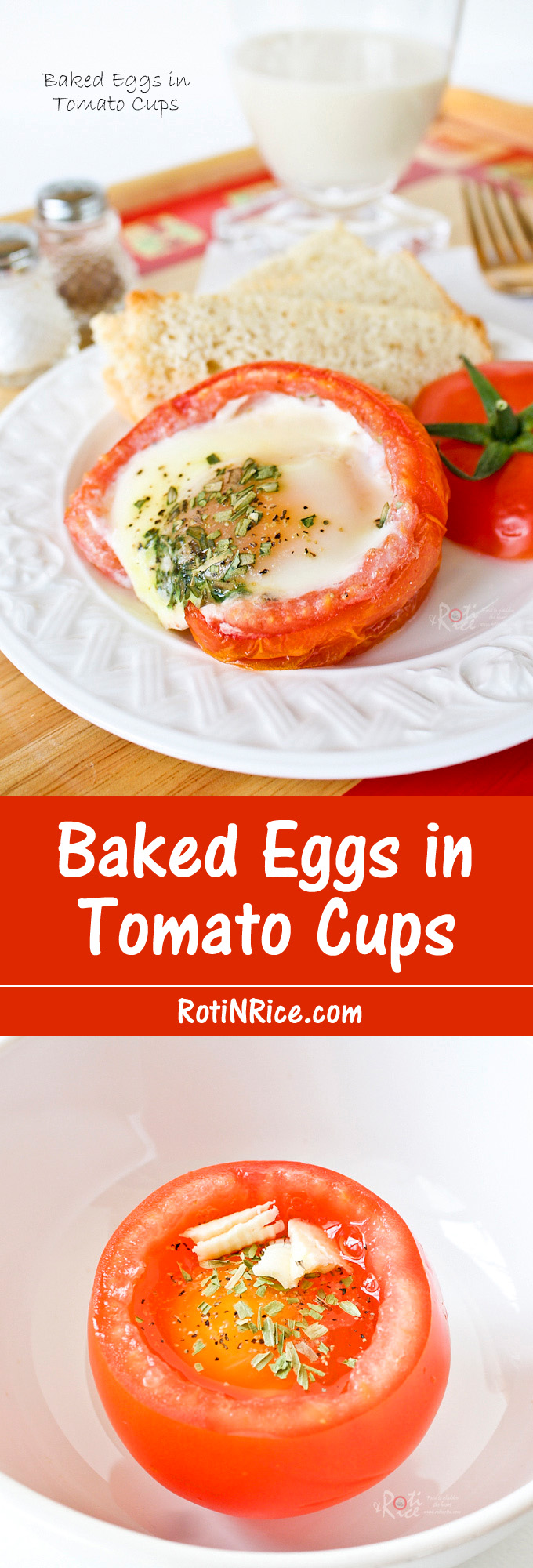 These freshly Baked Eggs in Tomato Cups with dried herbs make a lovely and tasty breakfast. A great way to use up homegrown or store bought tomatoes on the vine. | RotiNRice.com
