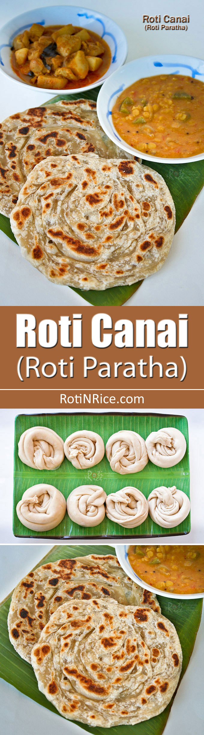 Crispy and fluffy homemade Roti Canai (Roti Paratha) with step-by-step instructions. Delicious eaten with dhal and chicken curry. | RotiNRice.com