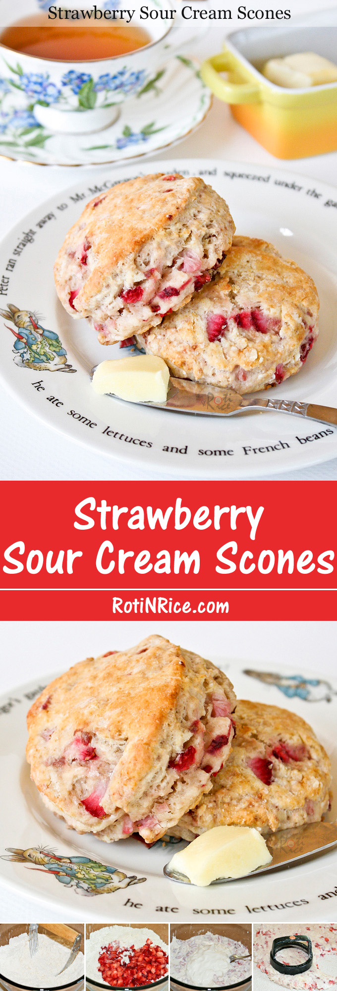 Delicious, soft, buttery, egg free Strawberry Sour Cream Scones