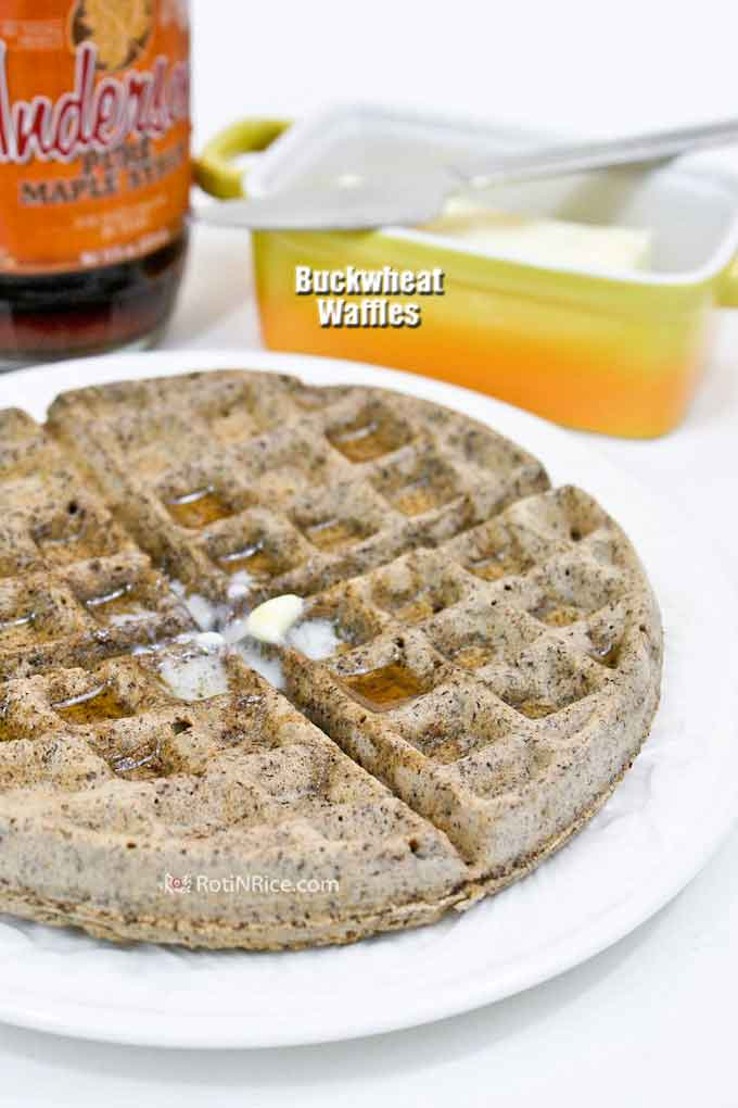Buckwheat and brown rice flours give these speckled, fragrant, and fluffy Buckwheat Waffles a distinctly nutty and earthy flavor. A must-try! | RotiNRice.com