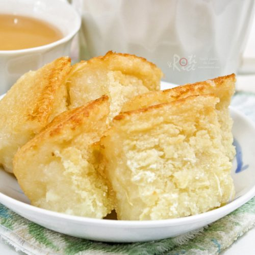 Tapioca Cake (Kuih Bingka), a Malaysian tea time favorite. Very easy to prepare with commercially available grated tapioca. Just mix and bake.   RotiNRice.com