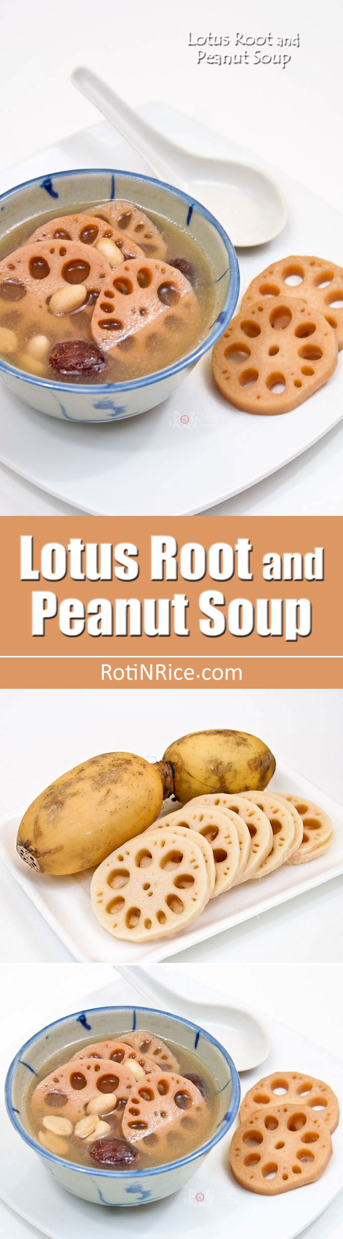 Lotus Root and Peanut Soup is a bowl of comfort on a cold day. This flavorful soup is slowly simmered to bring out all its wholesome goodness. | RotiNRice.com
