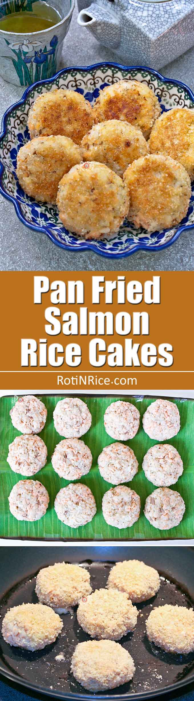 Delicious gluten free Pan Fried Salmon Rice Cakes made with poached salmon, cooked rice, dill weed, and lemon pepper. Great as appetizers or food-on-the-go. | RotiNRice.com